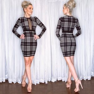 Gingham Long Sleeve Fitted Bodycon Dress